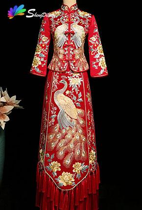 中式紅色秀禾服